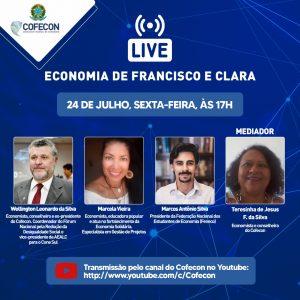 Live abordará a Economia de Francisco e Clara